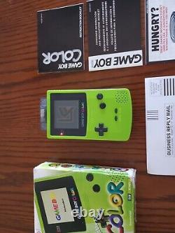 Nintendo Game Boy Color Kiwi Green With Box. Good Working Condition With 5 Games