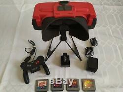 Nintendo Virtual Boy Red & Console Noire Avec 4 Jeux, Bon État, Travaux