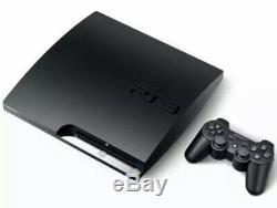 Noir Console Sony Playstation 3 Slim 120 Go Ps3 Très Bon État Paquet Lot