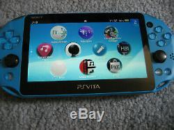Playstation Ps Vita LCD Slim 2000 Bleu 3.60 Fw Sd2vita 128go Bon État