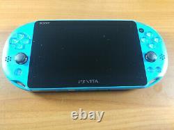 Playstation Ps Vita Slim LCD 2000 Aqua Blue 3,60 Fw Bon État 256gb