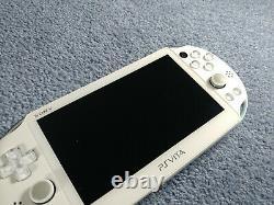 Playstation Ps Vita Slim LCD 2000 Blanc Lumière Bleu 3.60 Fw Bon État 256gb