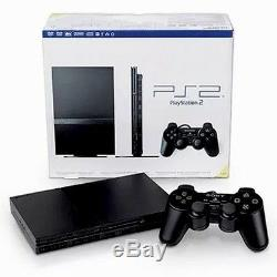 Sony Playstation 2 Noir Console Ps2 Slim Paquet Très Bonne Forme (2) Contrôleurs