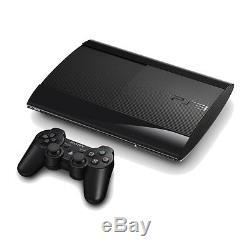 Sony Playstation 3 Super Slim 500 Go Charbon Noir Console Très Bon État