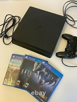 Sony Playstation 4 Ps4 Slim 500 Go Noir (utilisé, Très Bon État) + 3 Jeux
