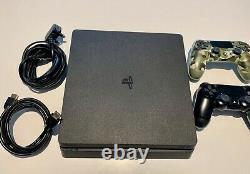 Sony Playstation 4 Slim 500 GB Jet Black Console En Bon État 2 Contrôleurs