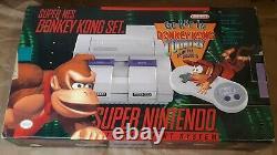 Super Nintendo Donkey Kong Set Snes Système Cib Très Bon État