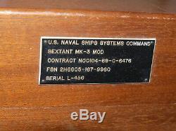 U. S. Vintage Naval Ships Systems Command Sextant. Mk-3 Mod. V. Bon État