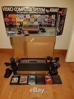 Vintage Atari 2600 Jeux Console Bonne Condition De Travail Dans La Boîte D'origine, 6 Jeux